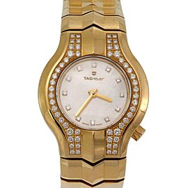 Tag Heuer Alter Ego Diamond 18k Yellow Gold Mother of Pearl Ladies Wrist Watch