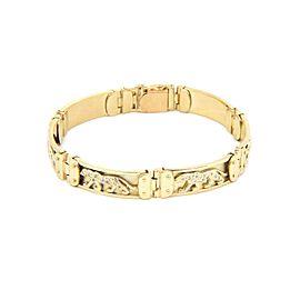 "Estate 14k Yellow Gold Diamond Panther Bar Link Bracelet 8.5"" Long"