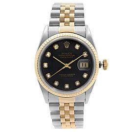 Rolex Datejust 36mm Steel Gold No Holes Case Black Diamond Dial Mens Watch 16233