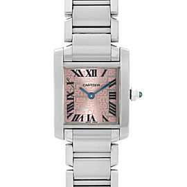 Cartier Tank Francaise 20mm 160th Anniversary Steel Pink Dial Ladies Watch 2384