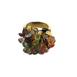 Marco Bicego Africa Multicolor Gems 18k Yellow Gold Cluster Bead Ring