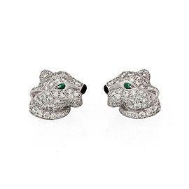 Panthere De Cartier Diamond Emerald Onyx 18k White Gold Earrings Cert