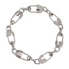 Classic 1.50ct Diamond 18k White Gold Safety Pin Link Bracelet