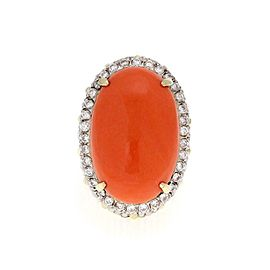 Vintage 1.00ct Diamond Coral 14k Two Tone Gold Large Oval Ring Size 6.5