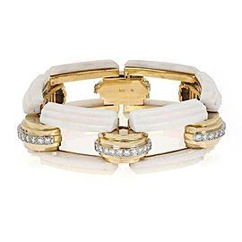 Magnificent 3.00ct Diamond White Coral 18k Gold 23.5mm Fancy Link Bracelet