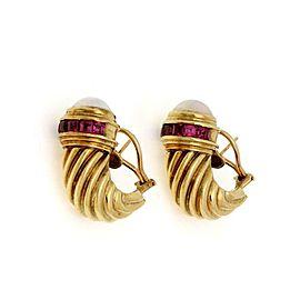 David Yurman Pearls Amethyst 14k Yellow Gold Shrimp Post Clip Earrings