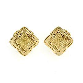 David Yurman 18k Yellow Gold Quatrefoil Cable Post Clip Huggie Earrings