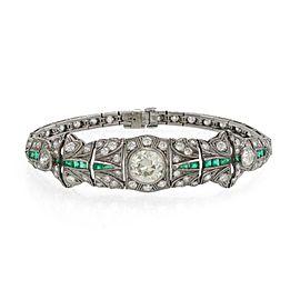 Art Deco 8.20ct Diamond Emerald Platinum Milgrain Design Flex Link Bracelet
