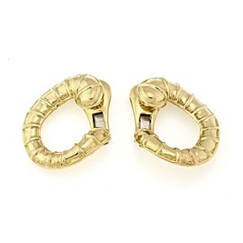David Webb 18k Yellow Gold Shell Design Curved Clip On Earrings