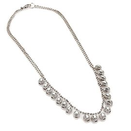 Elegant 2.00ct Diamond 14k White Gold Dangling Octagon Charms Necklace
