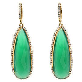 14K Yellow Gold Pear-Shaped Green Onyx Diamond Earrings 1.36Cttw