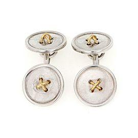 Tiffany & Co. 925 Silver 18k Yelow Gold Button Chain Cufflinks