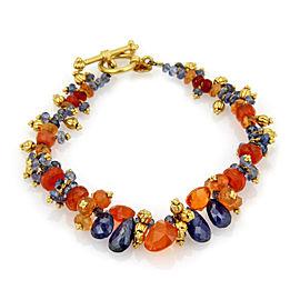 Laura Gibson Blue & Orange Beaded Cluster Gemstone 22k Gold Toggle Bracelet