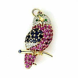 Le Vian Diamond & Gems 18k Yellow Gold Owl Pendant Brooch