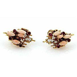 George Weil Diamond & Gems 18k Yellow Gold Platinum Post Clip Earrings
