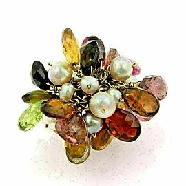 Multi Color Briolette Gemstone & Pearls 18k Yellow Gold Dangle Ring