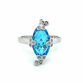 Diamond Blue Topaz Dangle Charm 14k White Gold Marquee Shape Ring