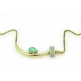 Australian Opal and Diamonds 14k Tri Color Gold Necklace