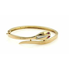 Estate Diamond & Ruby Snake Bypass 18k Yellow Gold Bangle Bracelet