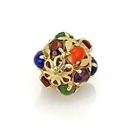 Multicolor Gemstone 14k Yellow Gold Etruscan Ball Charm Pendant
