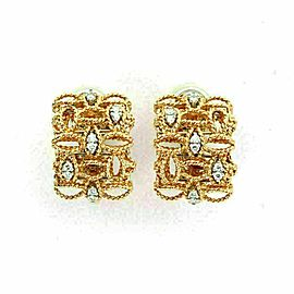 Roberto Coin Barocco Diamond 18k Rose Gold Fancy Leaf Design Post Clip Earrings