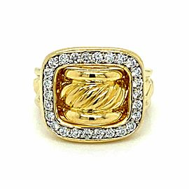 David Yurman Diamond 18k Yellow Gold Cable Buckle Band Ring