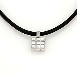 Chopard 18k White Gold Square Shape Cube Pendant & Silk Cord Necklace
