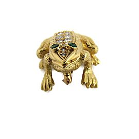 18k Yellow Gold 1.18ct Diamond & Emerald 3D Sitting Frog Brooch Pin