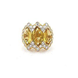 9.40ct Yellow Sapphire & Diamond 18k Yellow Gold Cocktail Ring Size - 4
