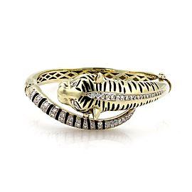 Stunning 2 Carats Diamonds & Enamel 14k Yellow Gold Tiger Bypass Bracelet