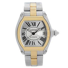 Cartier Roadster 37mm Steel 18k Gold Silver Dial Mens Auomatic Watch W62031Y4