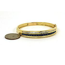 Elegant 6.65ct Diamond & Sapphire 18k Yellow Gold Bangle Bracelet
