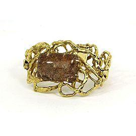 Vintage Fluorite Quartz 14k Yellow Gold Fancy Open Design Large Bracelet
