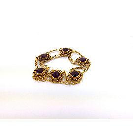9.00 Carats Amethyst 22k Yellow Gold Open Fancy Design Bracelet