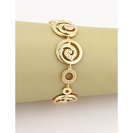 18K Yellow Gold Fancy 0.75ctw Diamond Circular Link Bracelet