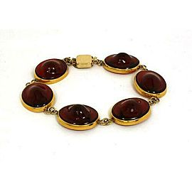 Vintage 14k Yellow Gold & Handblown Red Gem Round Link Bracelet