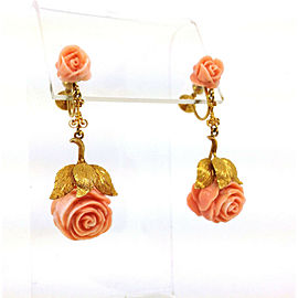 Vintage Estate 14k Y/Gold Intricate Hand Carved Coral Roses Drop Dangle Earrings