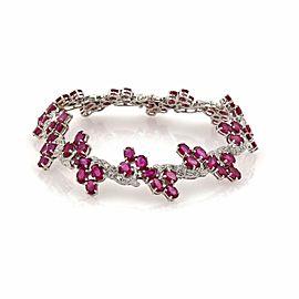 26ct Ruby & Diamond 14k White Gold Fancy Floral Link Bracelet