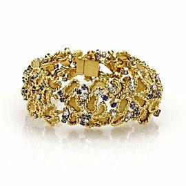 Estate 6.20ct Diamond & Sapphire 18k Yellow Gold Fancy Textured Bracelet