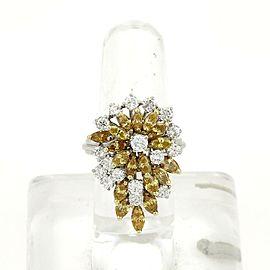 Estate 3.20ct Yellow & White Diamond 14k White Gold Cluster Ring Size 7