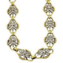"Vintage 5.00ct Diamond 18k Two Tone Fancy Floral Link 33"" Long Necklace"