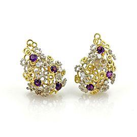 Estate 3 ct Diamond & Amethyst 18k Two Tone Gold Large Fancy Post Clip Earrings