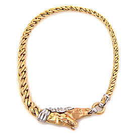 Estate 14k Two Tone Gold Double Horse Head Graduated Link Collar Necklace
