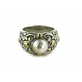 John Hardy Jaislamer Pearl Sterling 18k Yellow Gold Dome Ring