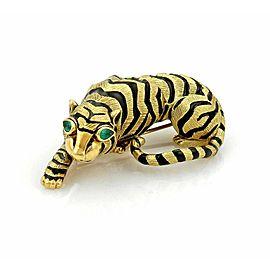 Emerald & Enamel 3D Tiger 18k Yellow Gold Brooch Pin