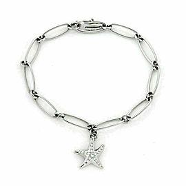 Tiffany & Co. Peretti Diamond Starfish Charm Platinum Oval Link Bracelet