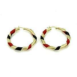 Red & Black Enamel Ribbon Hoop 14k Yellow Gold Earrings