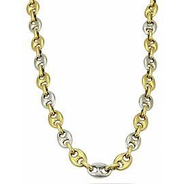 Fa.Ca.Doro Italian Solid 18k Yellow & White Gold Oval Link Chain