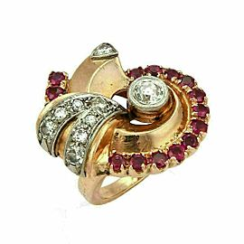 Retro Diamond & Ruby 14k Rose Gold Fancy Swirl Ring