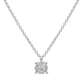 Damiani Bliss 18K White Gold with 0.08cttw Diamonds Pendant Necklace